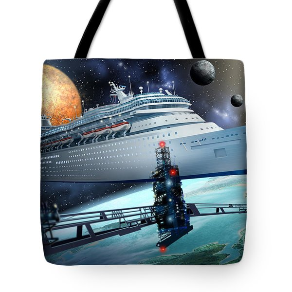 Space Ship Tote Bag by Ciro Marchetti