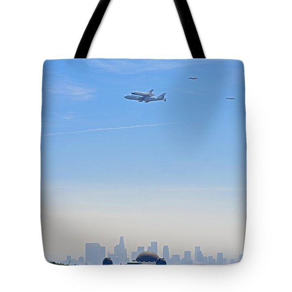 Space Shuttle Endeavour And Chase Planes Over The Griffith Observatory Tote Bag