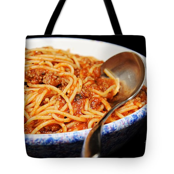 Spaghetti And Meat Sauce With Spoon Tote Bag by Andee Design