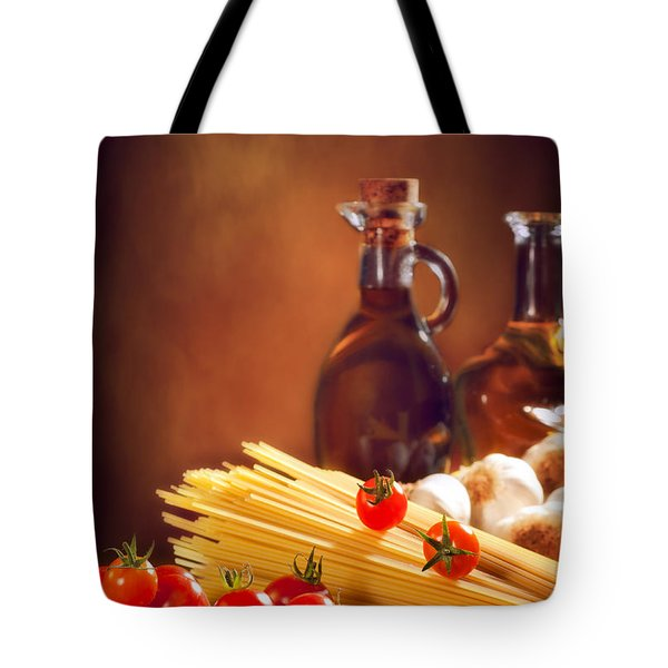 Spaghetti Pasta With Tomatoes And Garlic Tote Bag by Amanda Elwell