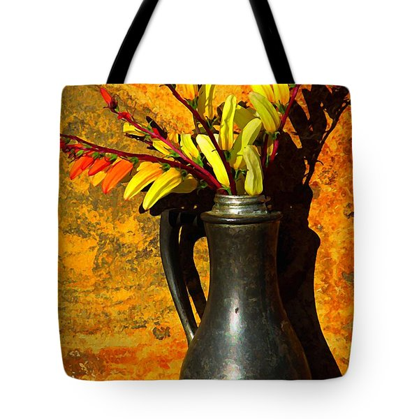 Spanish Flags In Pewter  Tote Bag by Chris Berry