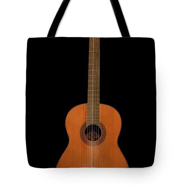 Spanish Guitar On Black Tote Bag by Debra and Dave Vanderlaan