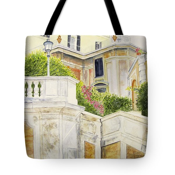 Tote Bag featuring the painting Spanish Steps by Carol Flagg