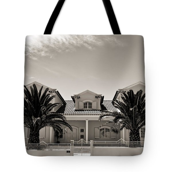 Spanish Village With Palm Trees Tote Bag