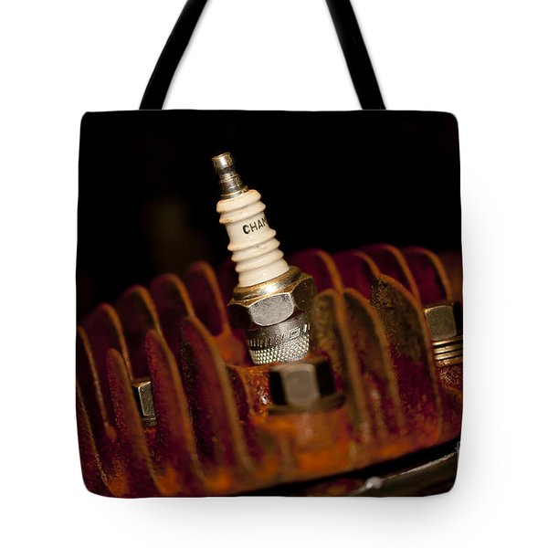 Sparkplug And Rusty Cooling Fins Tote Bag by Wilma  Birdwell