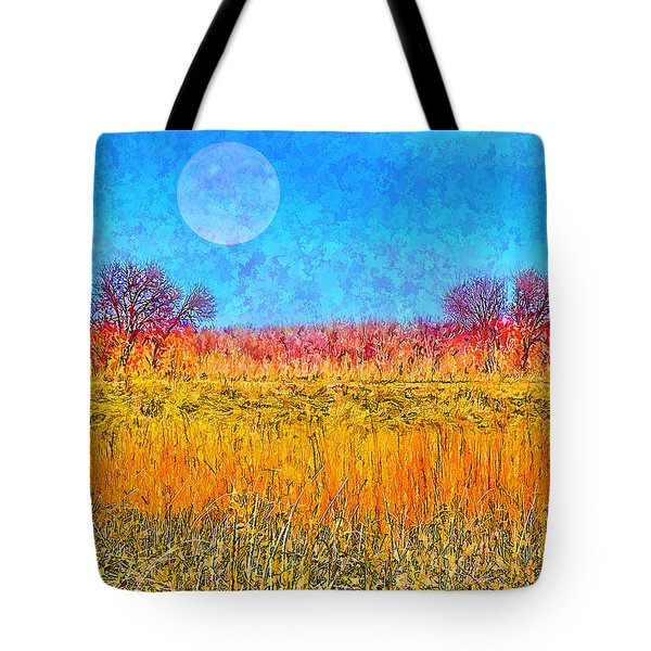 Tote Bag featuring the digital art Moonlight Over Fields Of Gold - Boulder County Colorado by Joel Bruce Wallach