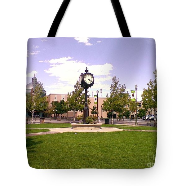 Tote Bag featuring the photograph Sparks Community Clock by Bobbee Rickard