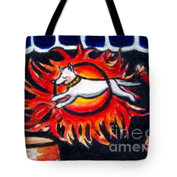 Sparky The Dog Jumps Through The Fiery Hoop Tote Bag by Joyce Gebauer