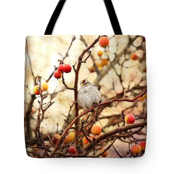 Sparrow In A Crab Apple Tree Tote Bag by Peggy Collins