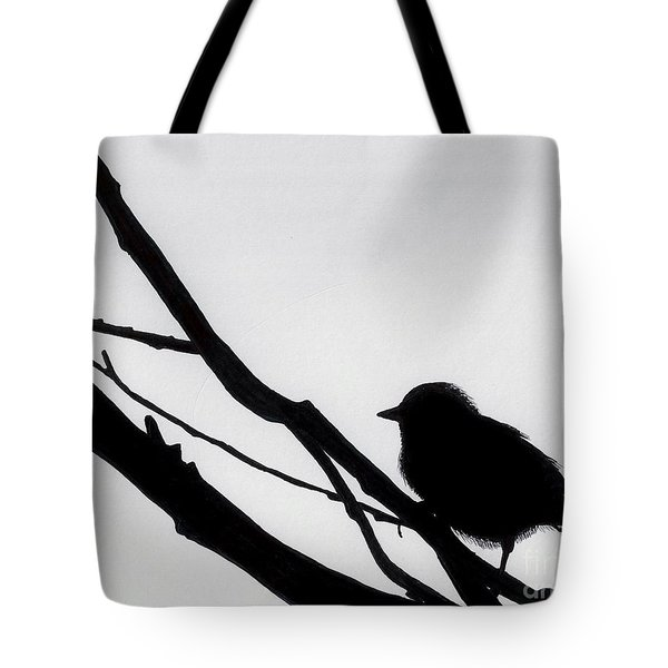 Tote Bag featuring the drawing Sparrow In A Gray Sky by D Hackett