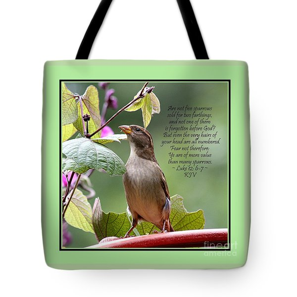 Sparrow Inspiration From The Book Of Luke Tote Bag