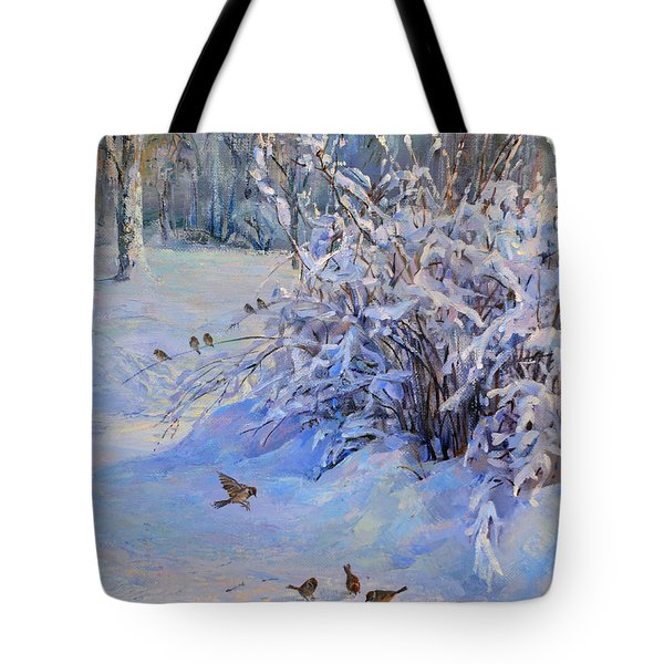 Sparrow On Snow Tote Bag