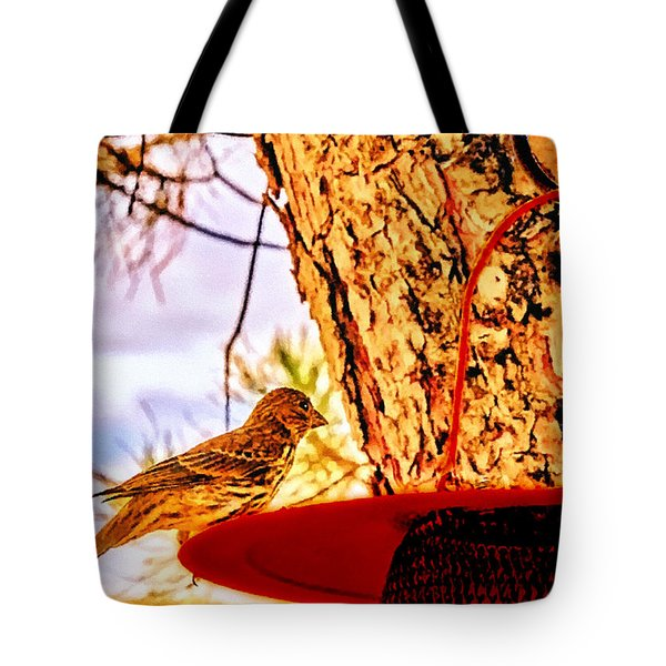 Sparrow Pine Tree Feeder Tote Bag by Bob and Nadine Johnston