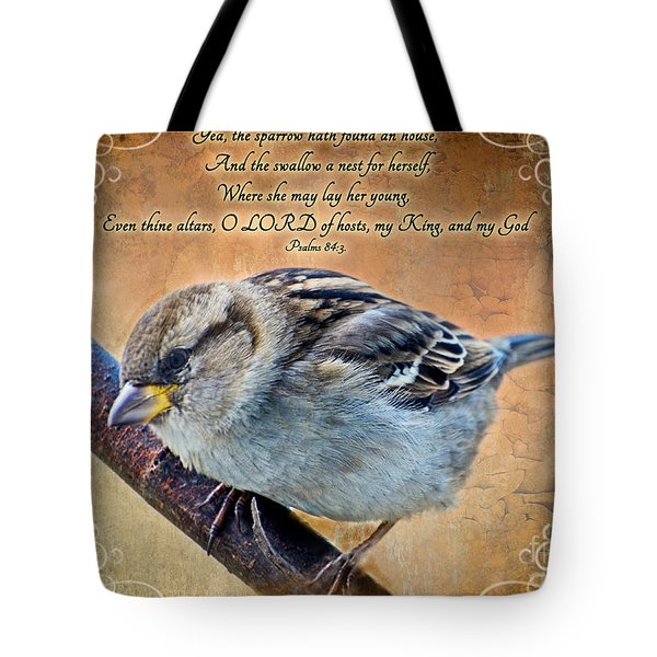 Sparrow With Verse Tote Bag by Debbie Portwood
