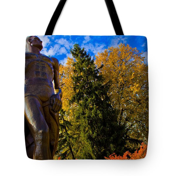 Sparty From Below In Autumn Tote Bag