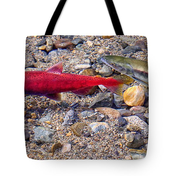 Tote Bag featuring the photograph Spawning Pair by Jim Thompson