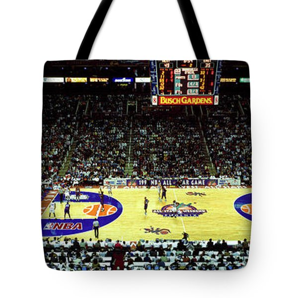 Spectators Watching A Basketball Game Tote Bag