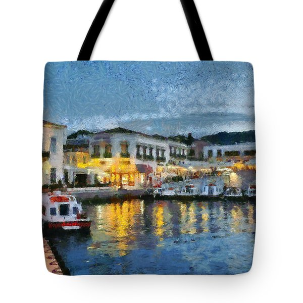 Spetses Town During Dusk Time Tote Bag
