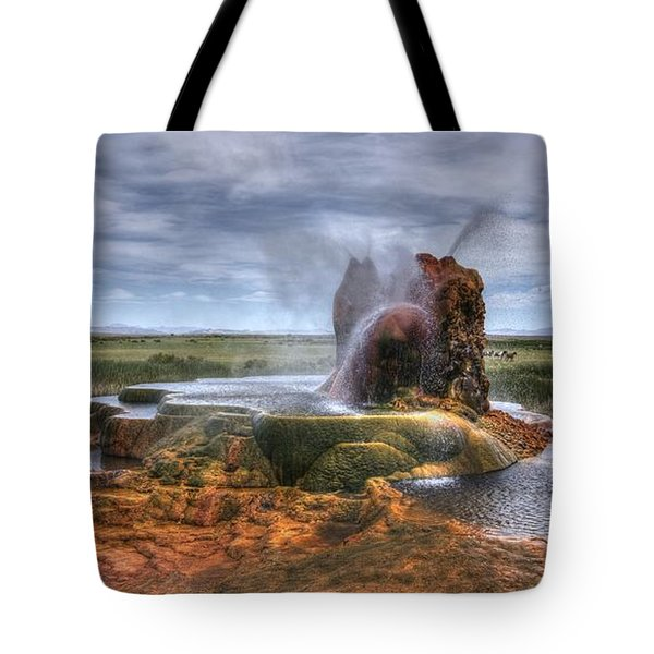 Tote Bag featuring the photograph Spewing Minerals At Fly Geyser by Peter Thoeny