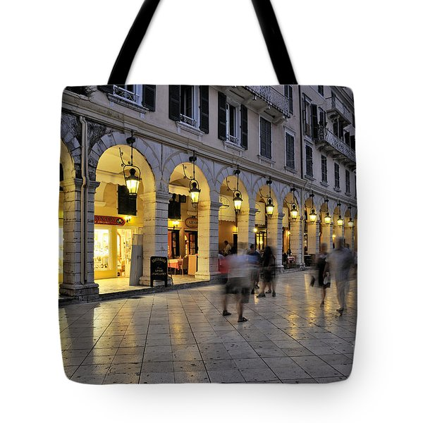 Spianada Square During Dusk Time Tote Bag by George Atsametakis