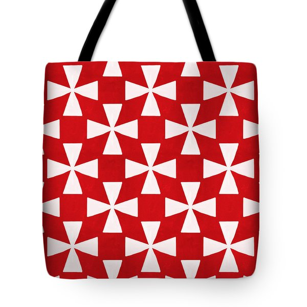 Spice Twirl- Red And White Pattern Tote Bag by Linda Woods