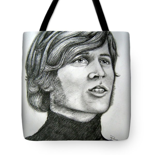 Tote Bag featuring the drawing  A Young Barry Gibb by Patrice Torrillo