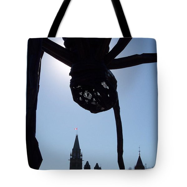 Spider Attacks Parliament Tote Bag by First Star Art