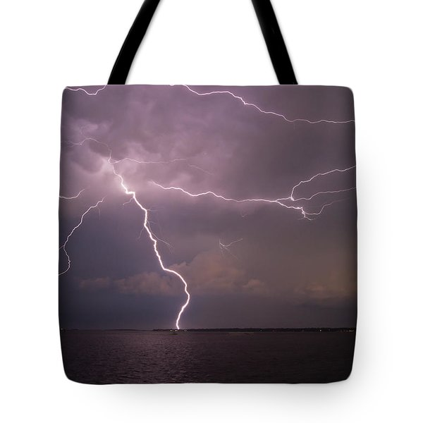 Spider Lightning Over Charleston Harbor Tote Bag