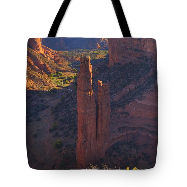 Tote Bag featuring the photograph Spider Rock by Alan Vance Ley