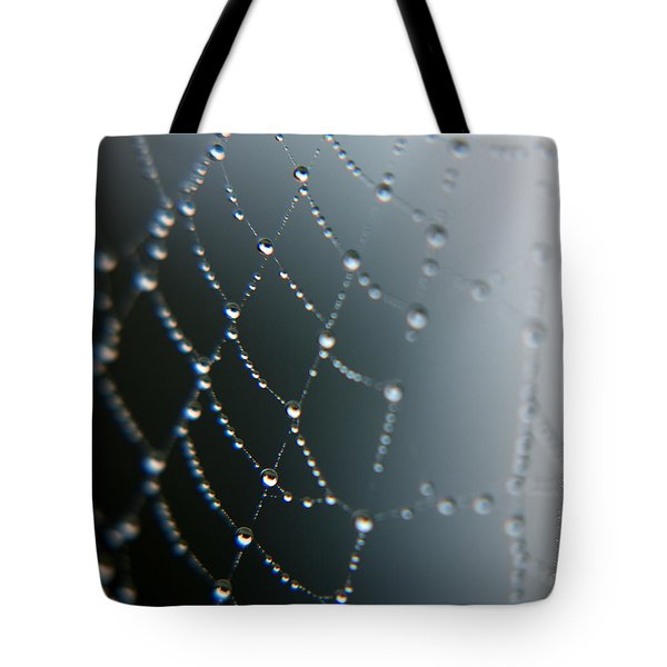 Tote Bag featuring the photograph Spider Web Gems by Rebecca Davis
