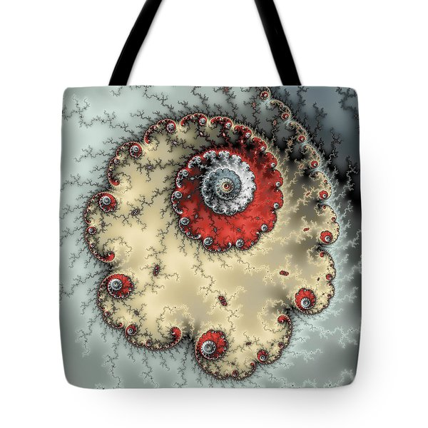 Spiral - Fractal Artwork In Yellow Gray And Red Tote Bag by Matthias Hauser