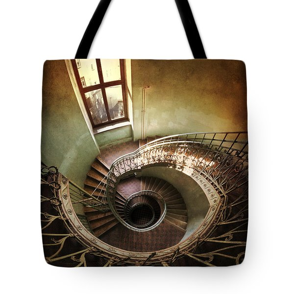 Tote Bag featuring the photograph Spiral Staircaise With A Window by Jaroslaw Blaminsky