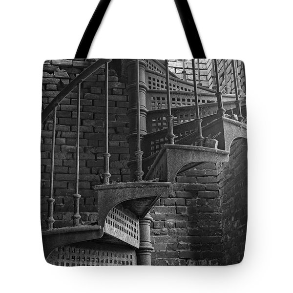 Spiral Staircase In B And W Tote Bag