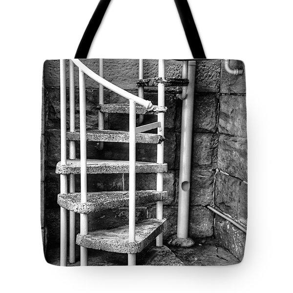 Spiral Steps - Old Sandstone Church Tote Bag by Kaye Menner