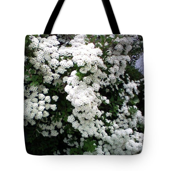 Tote Bag featuring the photograph Spirea Bridal Veil by Barbara Griffin