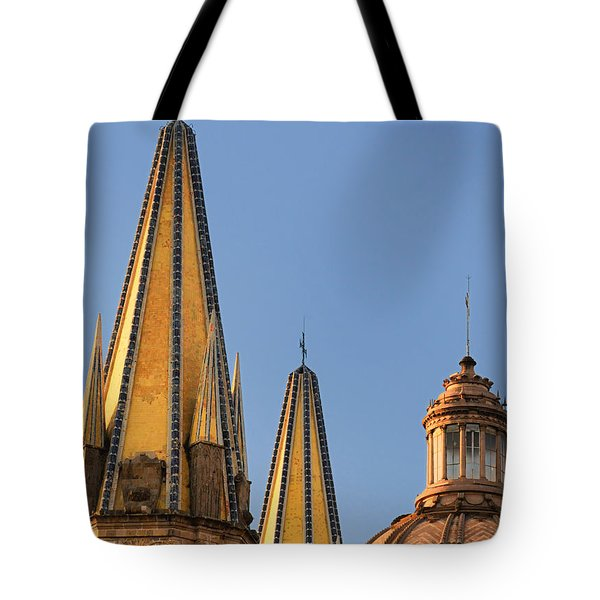 Tote Bag featuring the photograph Spires And Dome - Cathedral Of Guadalajara Mexico by David Perry Lawrence