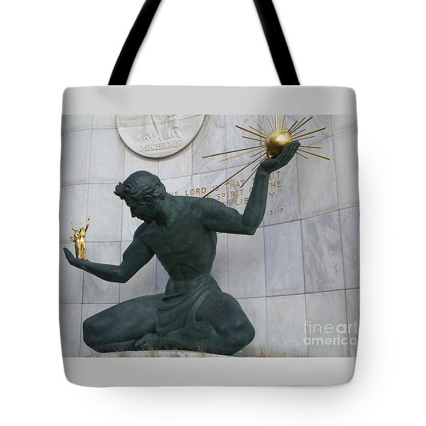 Spirit Of Detroit Tote Bag by Ann Horn