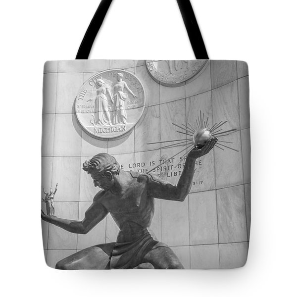 Spirit Of Detroit Black And White  Tote Bag