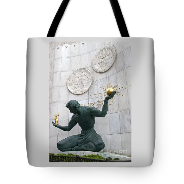 Spirit Of Detroit Monument Tote Bag by Ann Horn