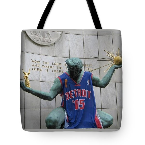 Spirit Of Detroit Piston Tote Bag