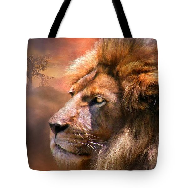 Spirit Of The Lion Tote Bag by Carol Cavalaris