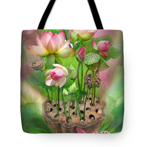 Spirit Of The Lotus Tote Bag by Carol Cavalaris