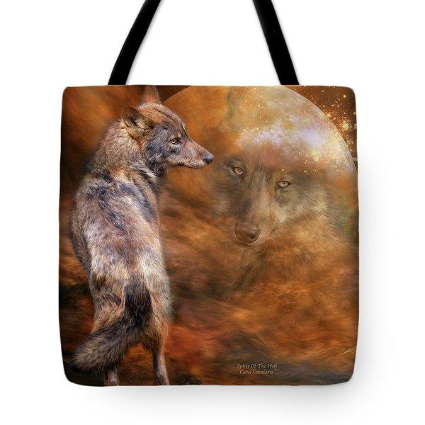 Spirit Of The Wolf Tote Bag by Carol Cavalaris