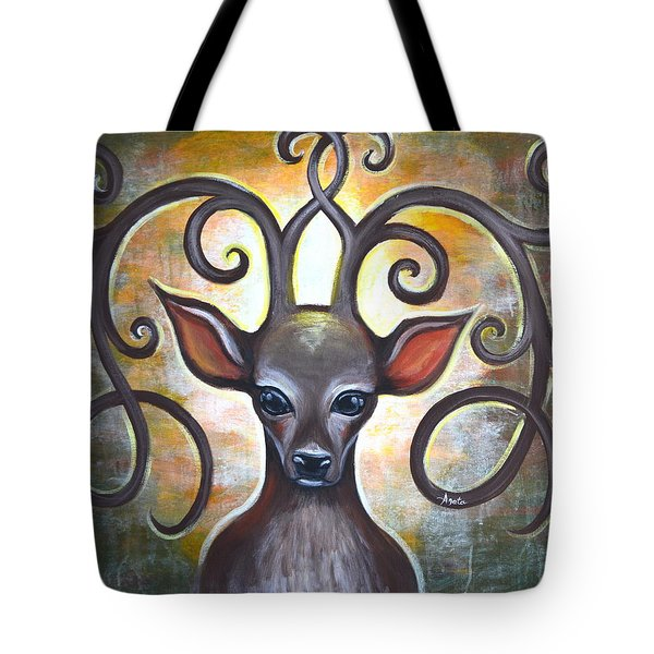 Tote Bag featuring the painting Spirit Of The Woods by Agata Lindquist