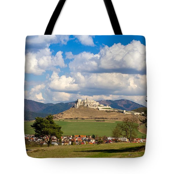 Tote Bag featuring the photograph Spissky Hrad - Castle by Les Palenik
