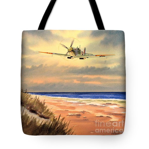 Spitfire Mk9 - Over South Coast England Tote Bag by Bill Holkham