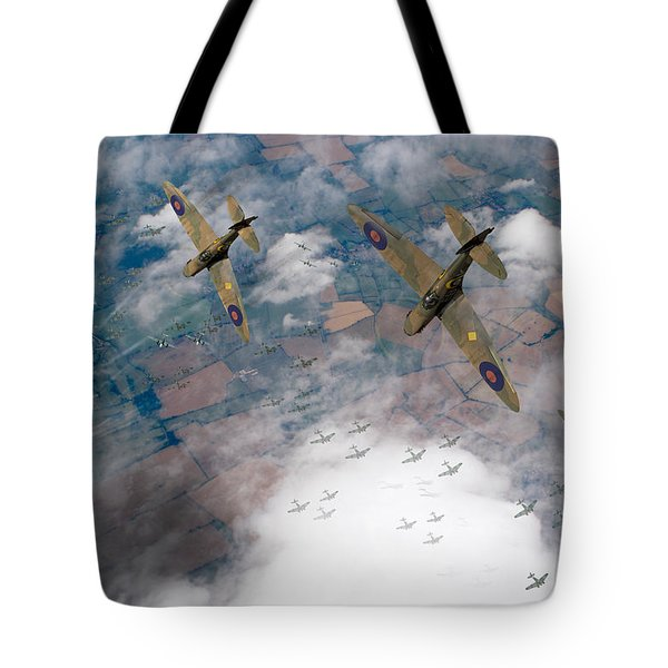 Raf Spitfires Swoop On Heinkels In Battle Of Britain Tote Bag by Gary Eason
