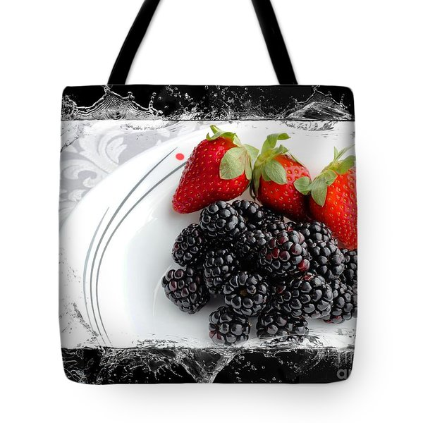 Splash - Fruit - Strawberries And Blackberries Tote Bag by Barbara Griffin