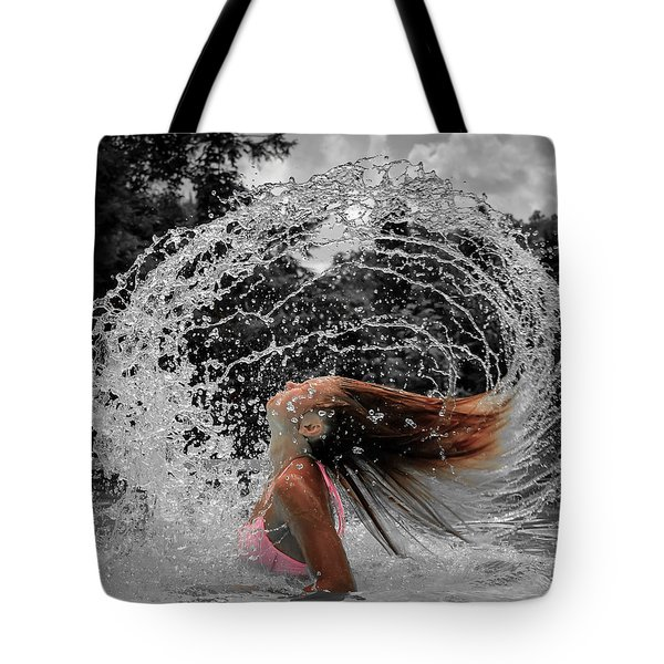 Hair Flip Splash Tote Bag