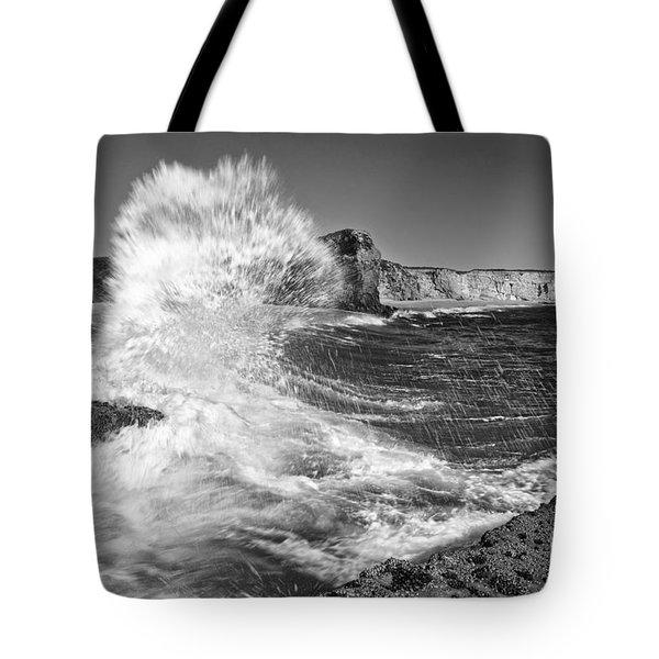 Splash - Panther Beach In Santa Cruz California. Tote Bag